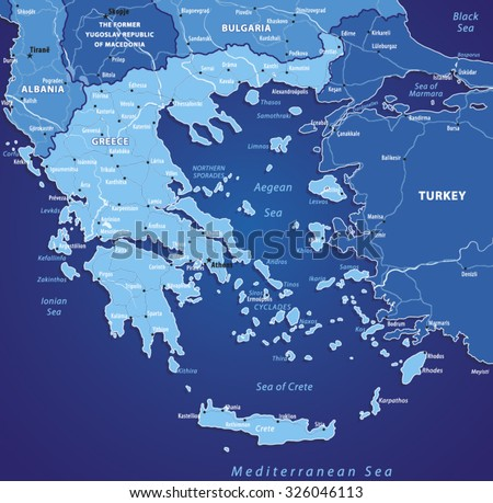 Vector Map Of Greece.Source for map is a site University of Texas Libraries with educational resources free for use. - stock vector