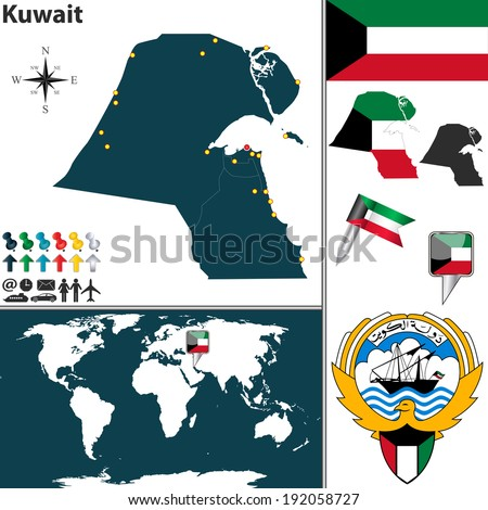 Vector map of Kuwait with regions, coat of arms and location on world map - stock vector