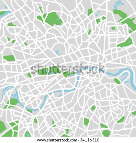 vector map of London. - stock vector