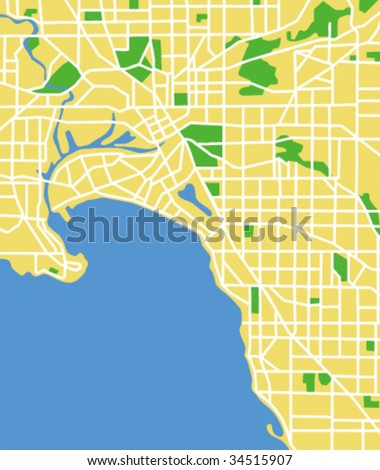 vector map of melbourne. - stock vector