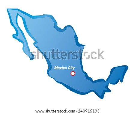Vector map of Mexico and Mexico City - stock vector
