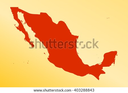 vector map of mexico in a modern style. red country on a orange background. vector illustration - stock vector