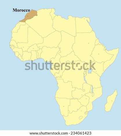 Vector map of Morocco in Africa - stock vector