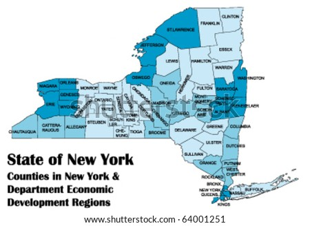 vector map of New York state with all counties - stock vector