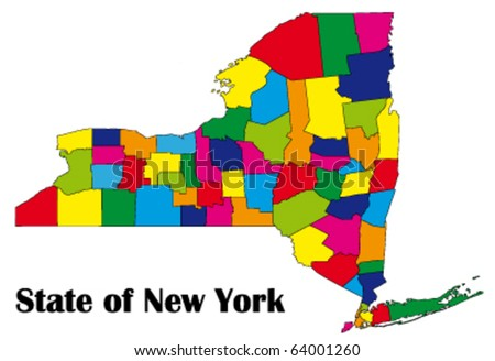 Vector Map Of New York State With All Counties  Stock Vector
