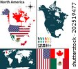 Vector map of North America with flags and location on world map - stock vector