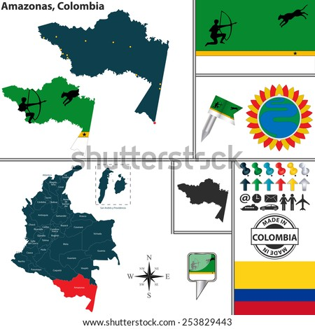 Vector map of region of Amazonas with coat of arms and location on Colombian map - stock vector