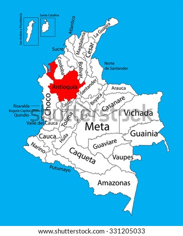 Vector map of region of Antioquia, Colombia editable vector map.  Administrative divisions of Colombia editable map. - stock vector