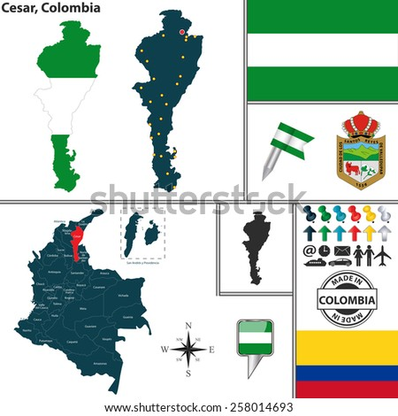 Vector map of region of Cesar with coat of arms and location on Colombian map - stock vector