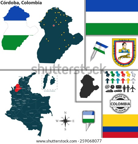 Vector map of region of Cordoba with coat of arms and location on Colombian map - stock vector