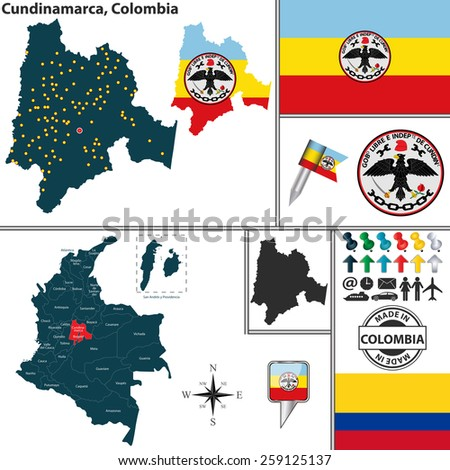 Vector map of region of Cundinamarca with coat of arms and location on Colombian map - stock vector