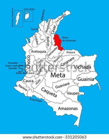 Vector map of region of Norte de Santander, Colombia editable vector map.  Administrative divisions of Colombia editable map. - stock vector