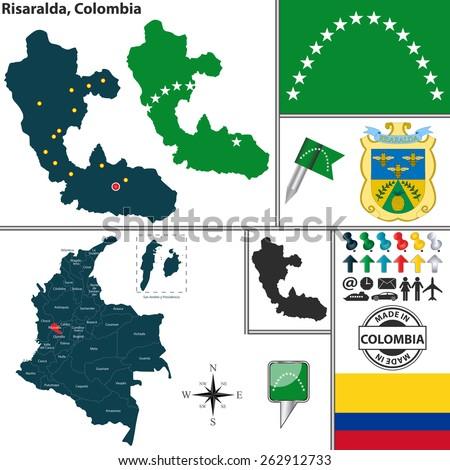 Vector map of region of Risaralda with coat of arms and location on Colombian map - stock vector