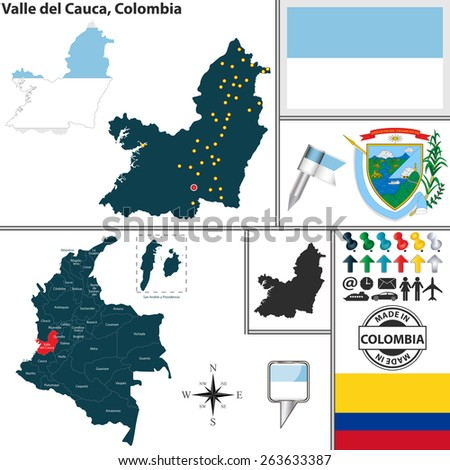 Vector map of region of Valle del Cauca with coat of arms and location on Colombian map - stock vector