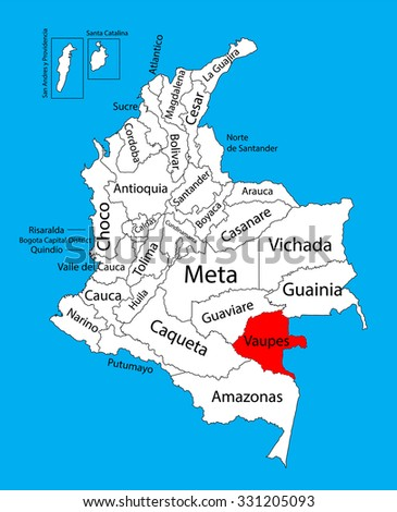 Vector map of region of Vaupes, Colombia editable vector map.  Administrative divisions of Colombia editable map. - stock vector