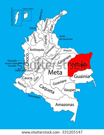 Vector map of region of Vichada, Colombia editable vector map.  Administrative divisions of Colombia editable map. - stock vector