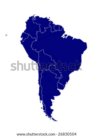 vector map of south america - stock vector