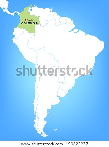 Vector Map of South America Highlighting the Country of Colombia - stock vector