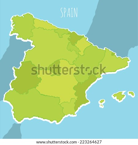 vector map of spain on a blue background on areas - stock vector