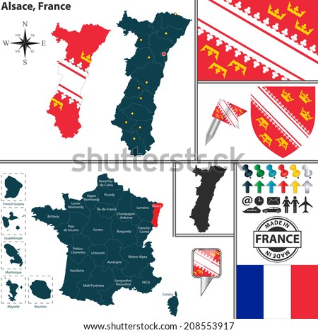 Vector map of state Alsace with coat of arms and location on France map - stock vector