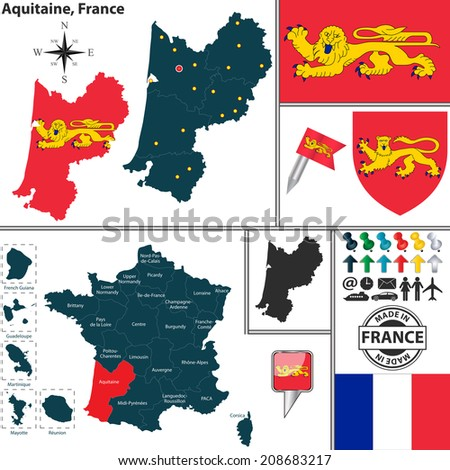 Vector map of state Aquitaine with coat of arms and location on France map - stock vector