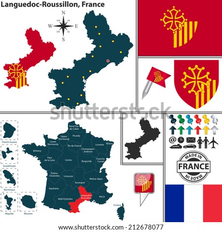 Vector map of state Languedoc-Roussillon with coat of arms and location on France map - stock vector