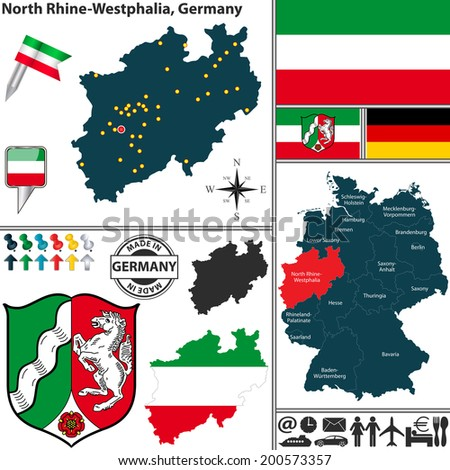 Vector map of state North Rhine-Westphalia with coat of arms and location on Germany map - stock vector