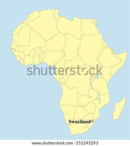 Vector map of Swaziland in Africa  - stock vector