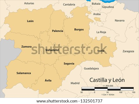 Vector map of the autonomous community of Castile and Leon (Castilla y León). Spain. - stock vector