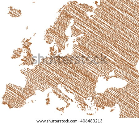 vector map of the Europe drawing in brown marker on a white background. Sketch Europe map for infographics, brochures and presentations - stock vector