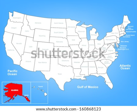Vector Map of the United States Highlighting the State of Alaska; Illustrator 8  - stock vector