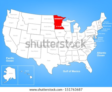 Vector Map of the United States Highlighting the State of Minnesota; Illustrator 8 - stock vector