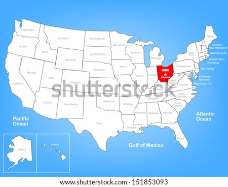 Vector Map of the United States Highlighting the State of Ohio; Illustrator 8 - stock vector