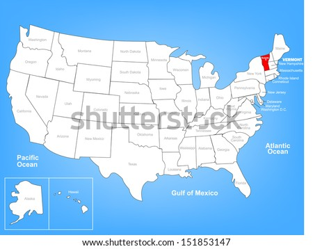 Vector Map of the United States Highlighting the State of Vermont; Illustrator 8 - stock vector