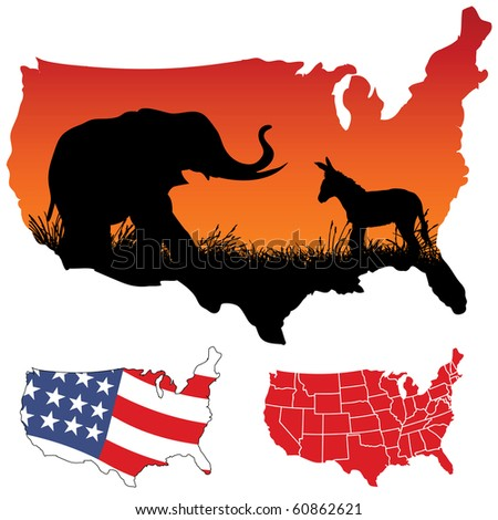vector map of the usa - stock vector
