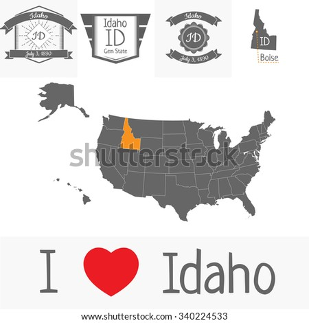 Vector map of the USA with outlined states and Idaho vintage stamps  - stock vector