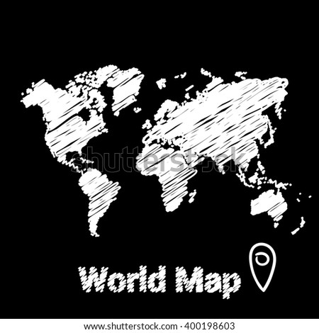 vector map of the world drawing in white marker on a black background. sketch world map for infographics, brochures and presentations. - stock vector