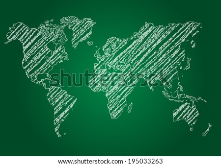 vector map of the world on blackboard - stock vector
