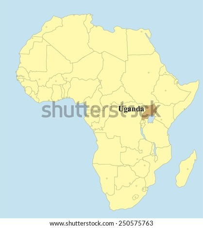 Vector map of Uganda in Africa  - stock vector