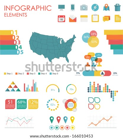 Vector map of United States of America, illustration and infographics design template. flat modern style. Easy to edit country.  - stock vector