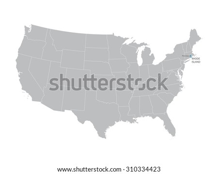 vector map of United States with indication of Rhode Island - stock vector