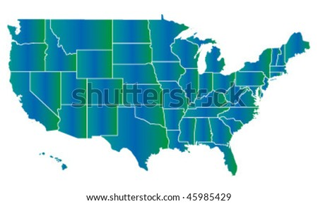 vector map of USA with separable borders - stock vector