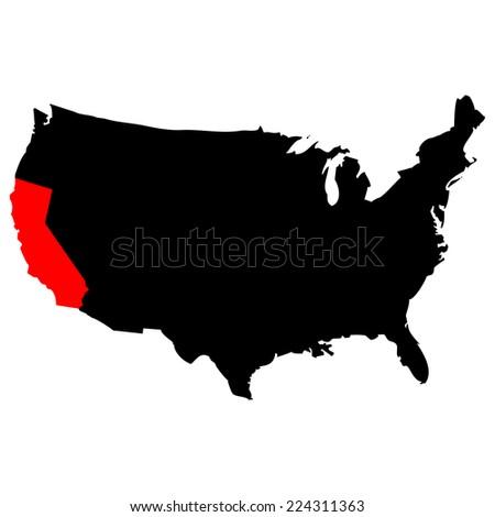 Vector map over USA with California - stock vector