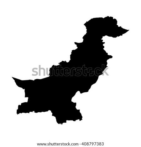 Vector map Pakistan. Isolated vector Illustration. Black on White background. EPS 8 Illustration. - stock vector