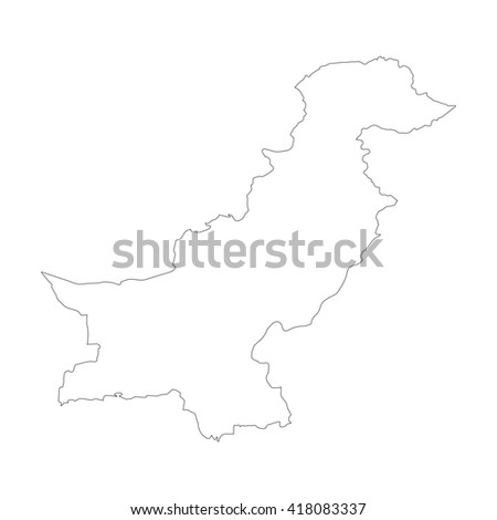 Vector map Pakistan. Outline map. Isolated vector Illustration. Black on White background. EPS 8 Illustration. - stock vector