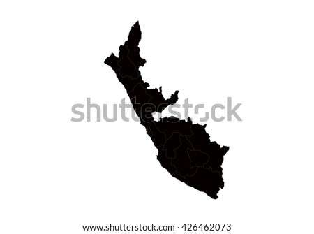 Vector map-peru  country on white background. - stock vector