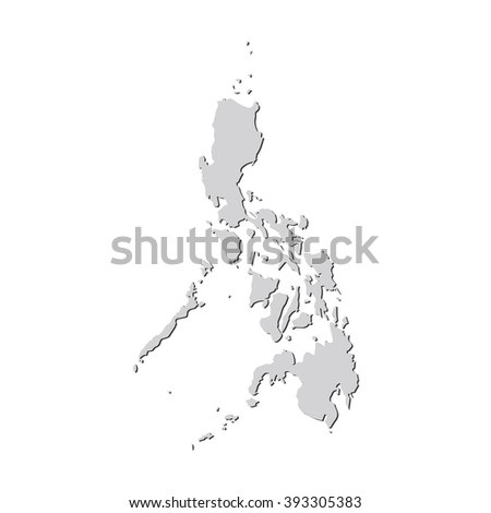 Vector map Philippines. Isolated vector Illustration. Gray on White background. With shadow. EPS 10 Illustration. - stock vector