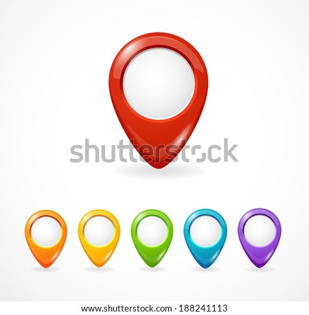Vector map pointer. Icon pin set rainbow - stock vector