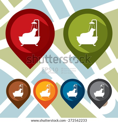 Vector : Map Pointer Icon With Dog Grooming Sign - stock vector