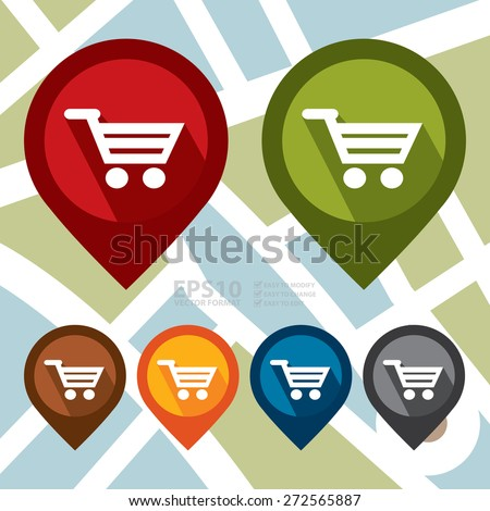 Vector : Map Pointer Icon With Shopping Cart, Shopping Center, Supermarket or Department Store Sign - stock vector